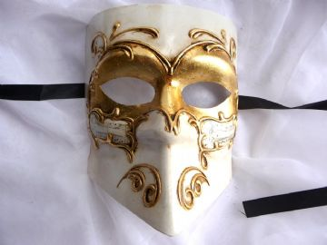 Genuine Venetian Gold & Cream Bauta Mask (1)